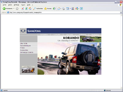 Cr�ation du site internet Ssangyong.fr